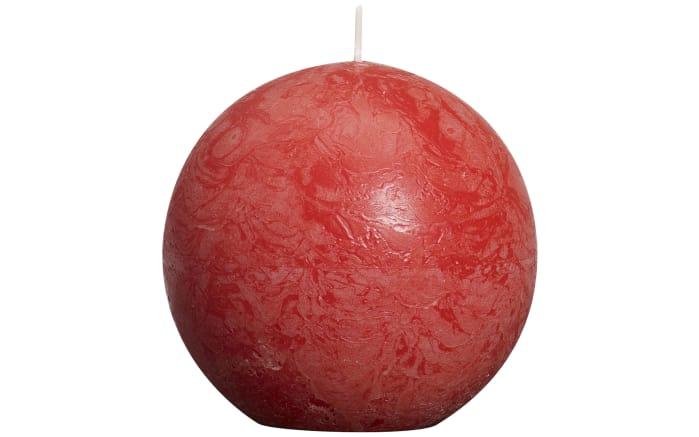 Kugelkerze Rustik in rot, 8 cm