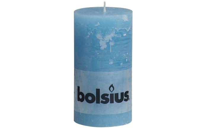 Stumpenkerze Rustik in aqua, 13 cm