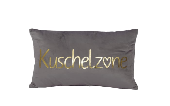 Dekokissen Kuschelzone in grau/gold, 30 x 50 cm