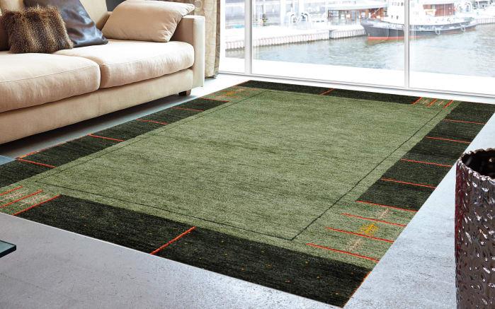 Teppich Gabbeh Royal in grün,  40 x 60 cm